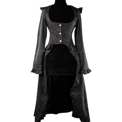Black Brocade Elegant Aristocrat Coat