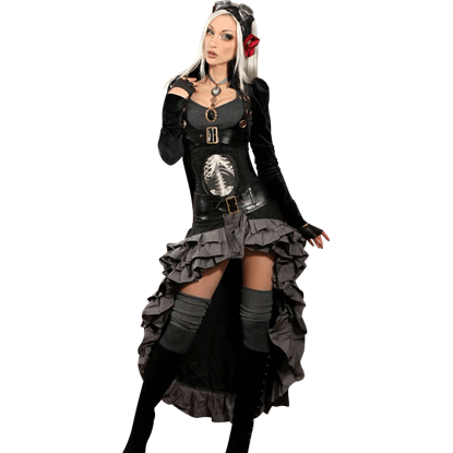 Black Steampunk Openbust Tailcoat
