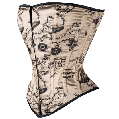 Antique Map Overbust Corset
