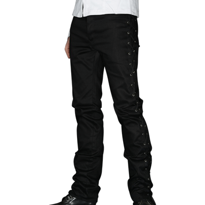 Gothic Black Side-Laced Pants