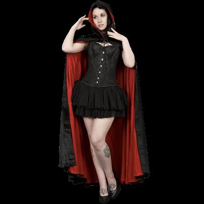 Black and Red Velvet Hooded Cape