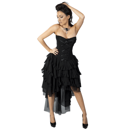 Beverly Black Chiffon Corset Dress