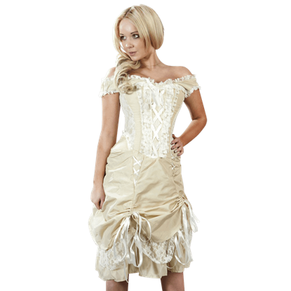 Dita Cream Taffeta Corset Dress