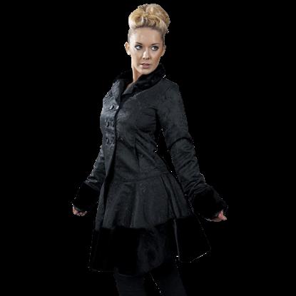 Dark Lady Black Brocade Coat