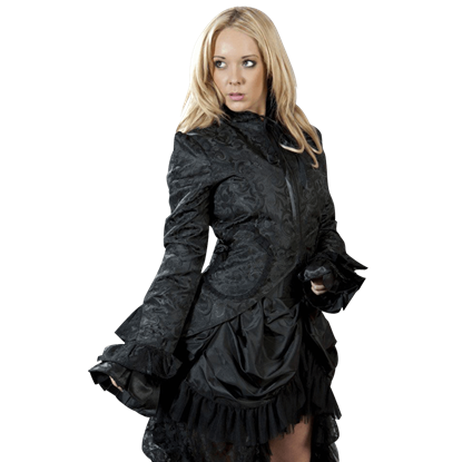 Black Scroll Brocade Dress Coat