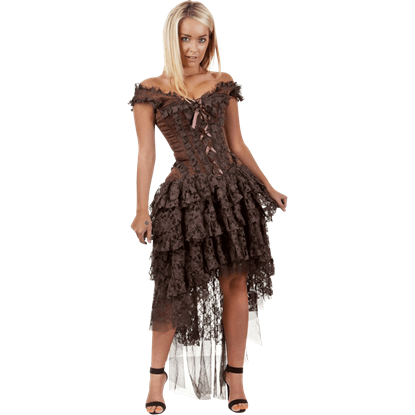 Ophelie Brown Brocade Corset Dress
