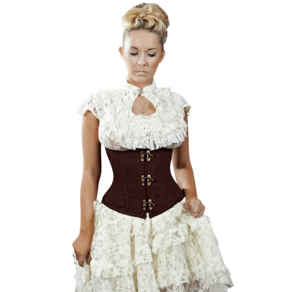 Candy Brown Twill Clasp Underbust Corset