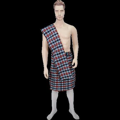 Men's Scottish Kilt with Scarf - Orange and Black