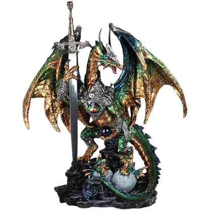 Armoured Green Guardian Dragon Statue