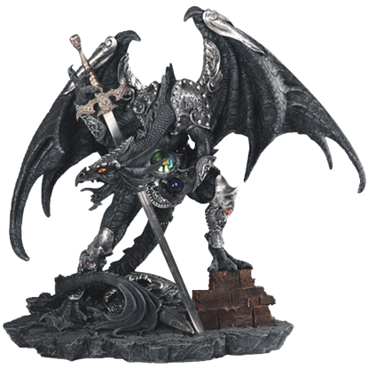 Armoured Black Dragon Knight Statue