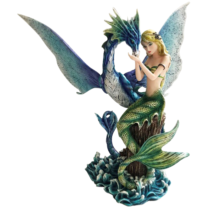 Green Mermaid with Blue Serpent Statue