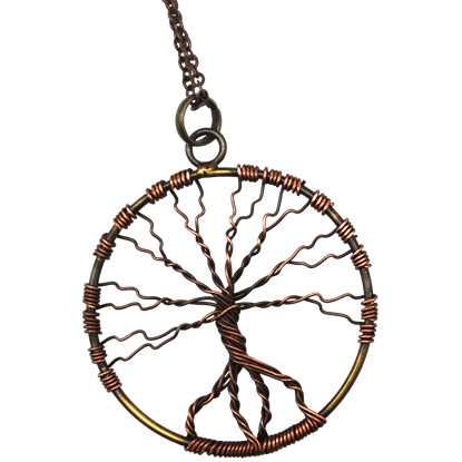 Antique Brass Wire Art Tree of Life Necklace