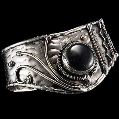 Antique Silver Black Onyx Cuff Bracelet