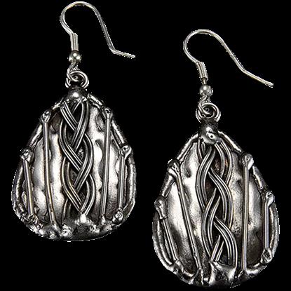 Braid Teardrop Antique Silver Earrings