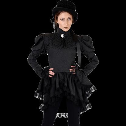 Black Brocade Gothic Tailcoat Blouse