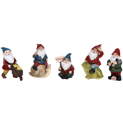 Set of 5 Mini Gnome Statues