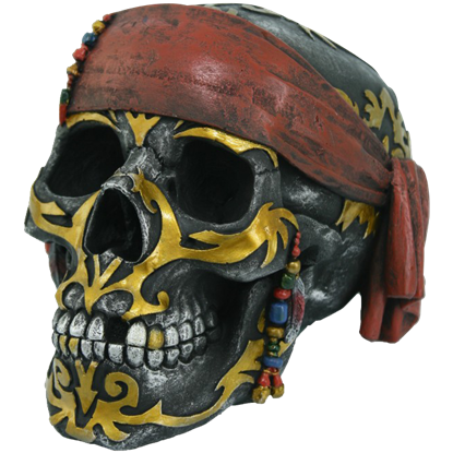 Gold Tattoo Pirate Skull Statue