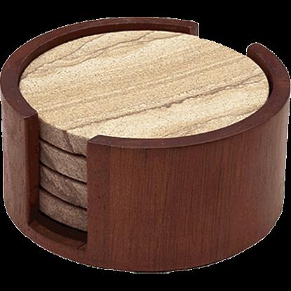 Cherry Wood Round Coaster Holder
