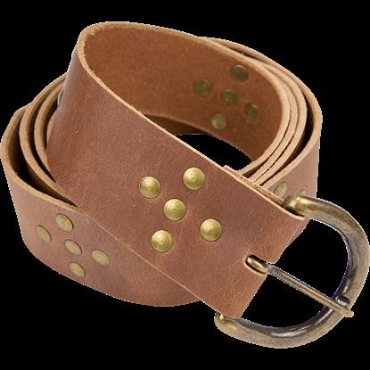 Brass Stud Medieval Cross Belt - Brown