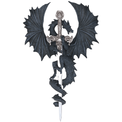 Black Dragon With Sword Wall Plaque
