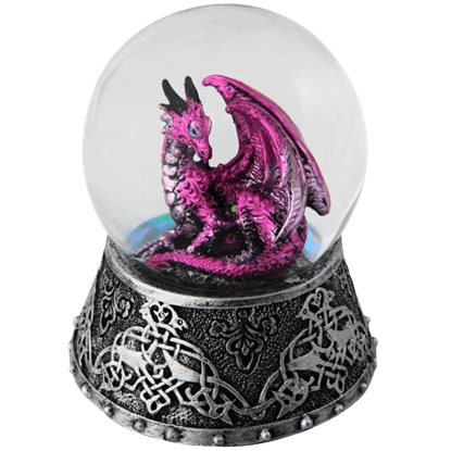 Celtic Purple Dragon Snow Globe