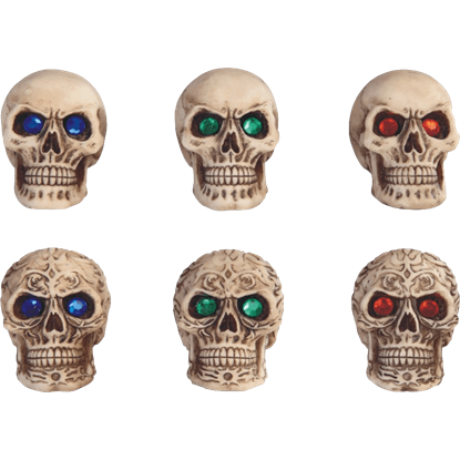 6 Piece Gemmed Skull Set