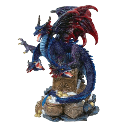 3 Headed Dragon Guarding Treasure Statue