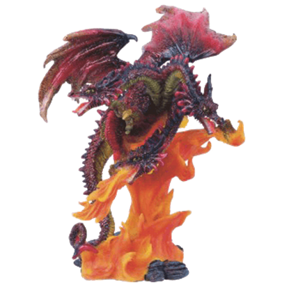 3 Headed Fire Dragon Statue