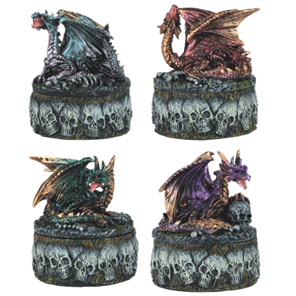 4-Piece Dragon and Skull Trinket Box Set