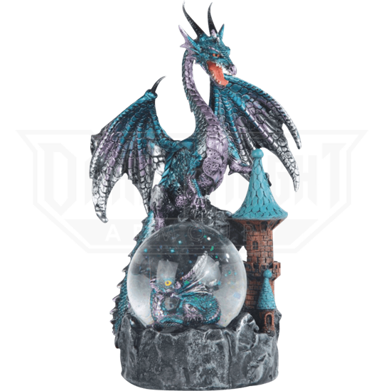 Blue Dragon on Castle Snow Globe