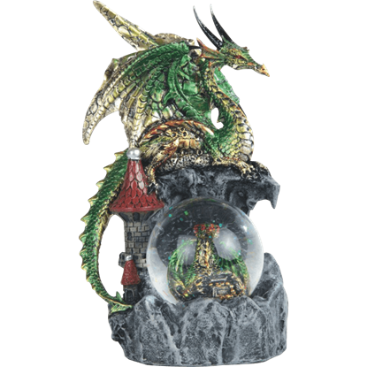 Green Dragon on Castle Snow Globe