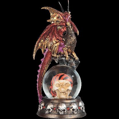 Red Dragon on Pirate Skull Snow Globe