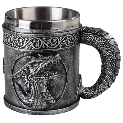Silver Roaring Dragon Head Coffee Mug