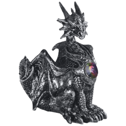 Alert Silvery Gem Dragon Statue