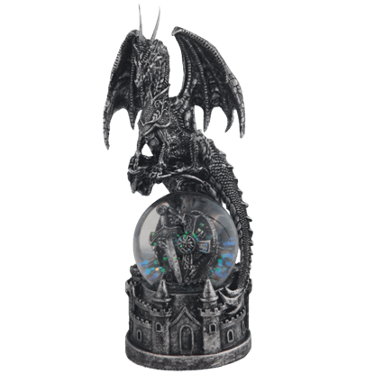 Dragon and Cross Snow Globe with Castle Base