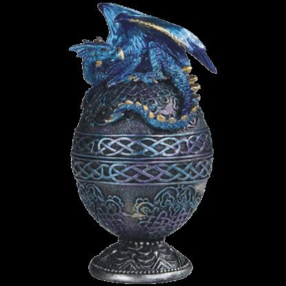 Blue Dragon Ornate Egg Trinket Box