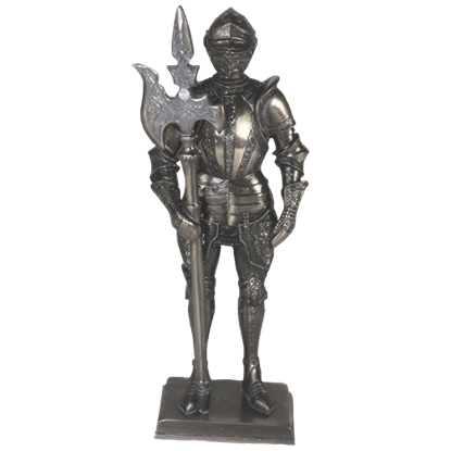 Bronze Armored Knight with Long Axe Statue