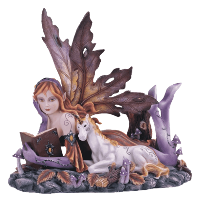 Autumn Fairy and Unicorn Statue