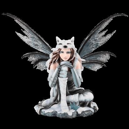 Arctic Wolf Fairy Statue