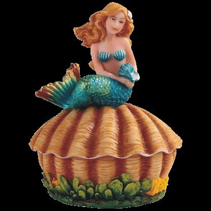 Mermaid on Clam Trinket Box
