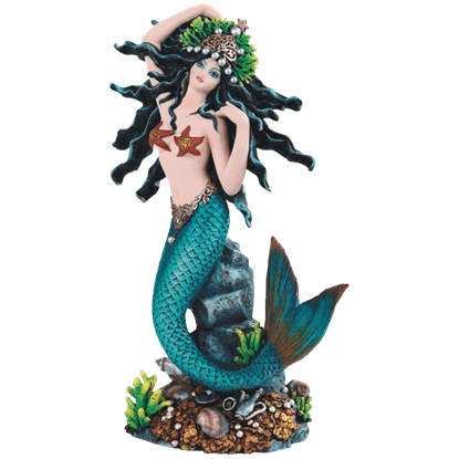 Turquoise Princess Mermaid Statue