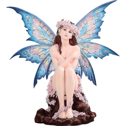 Blue Fairy with Flowers Statue