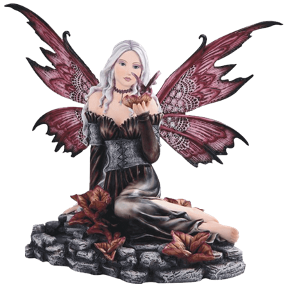 Black Fairy with Butterfly Statue
