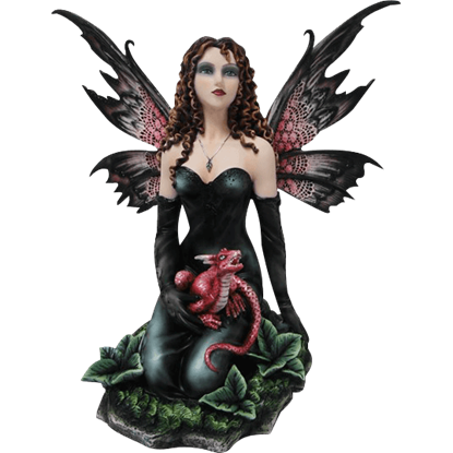 Black Fairy with Red Dragon Statue