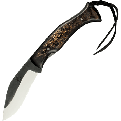 Horn Scale Kukri Folding Knife