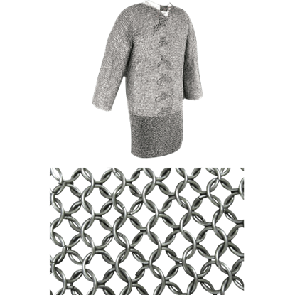 60 Inch Mercenary Grade Blackened Mail Hauberk