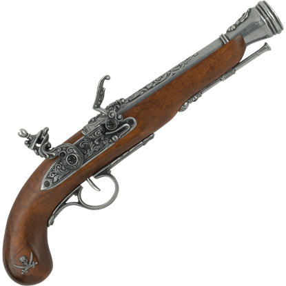 Left-Handed Grey Pirate Flintlock Pistol