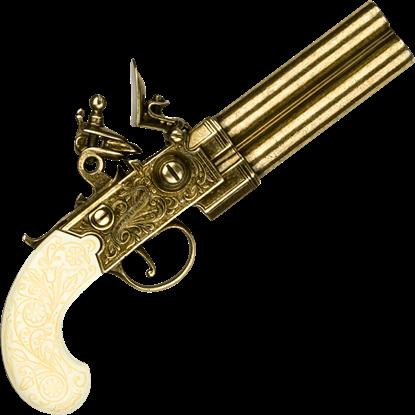 Brass Colonial Double Barrel Flintlock Gun