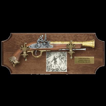 Pirate Flintlock Dark Wood Display Plaque