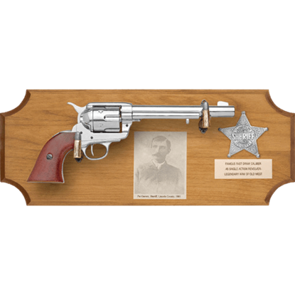 Pat Garrett Framed Pistol Wood Display Plaque